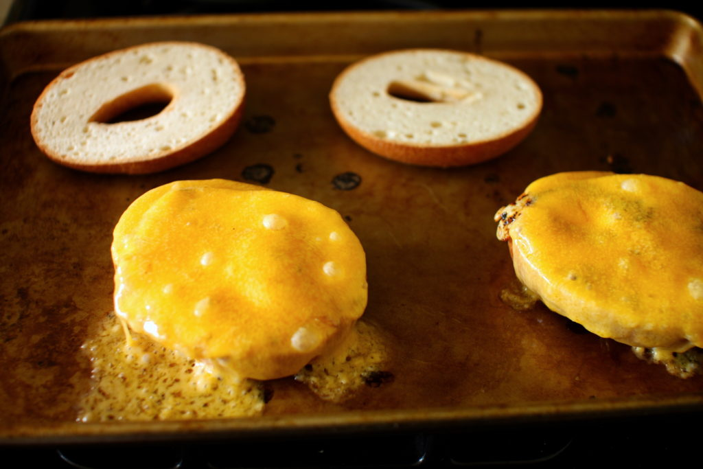 Cheese and Eggs on Bagels