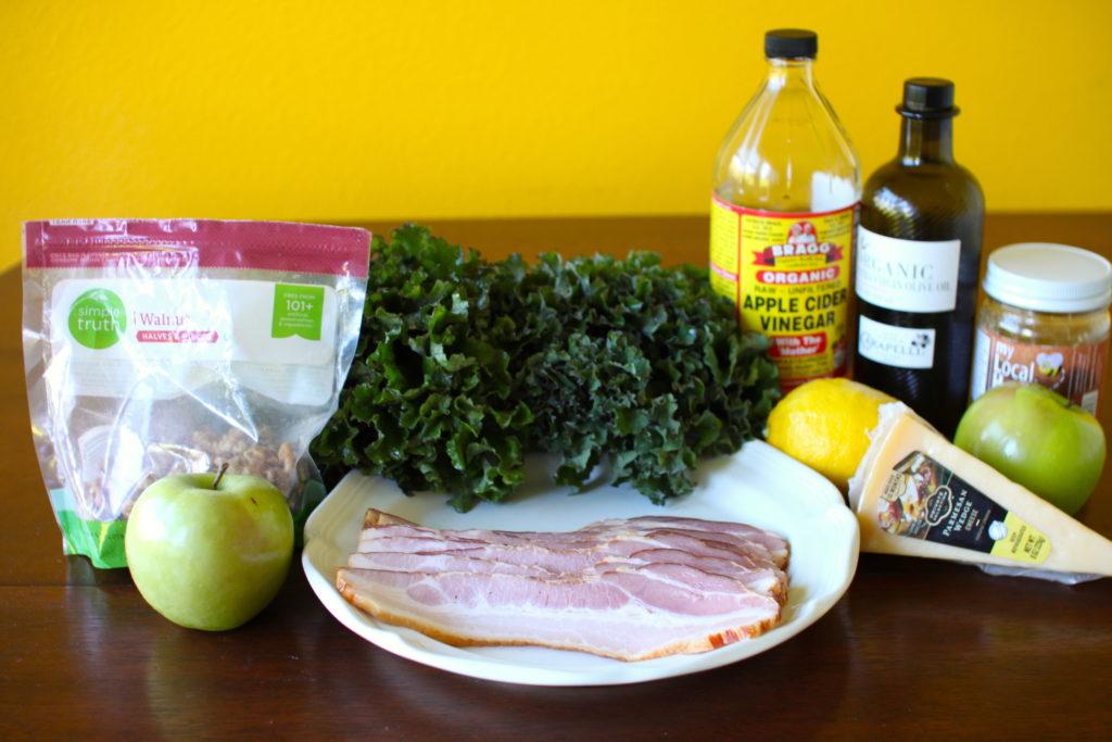 Bacon Apple Kale Salad ingredients