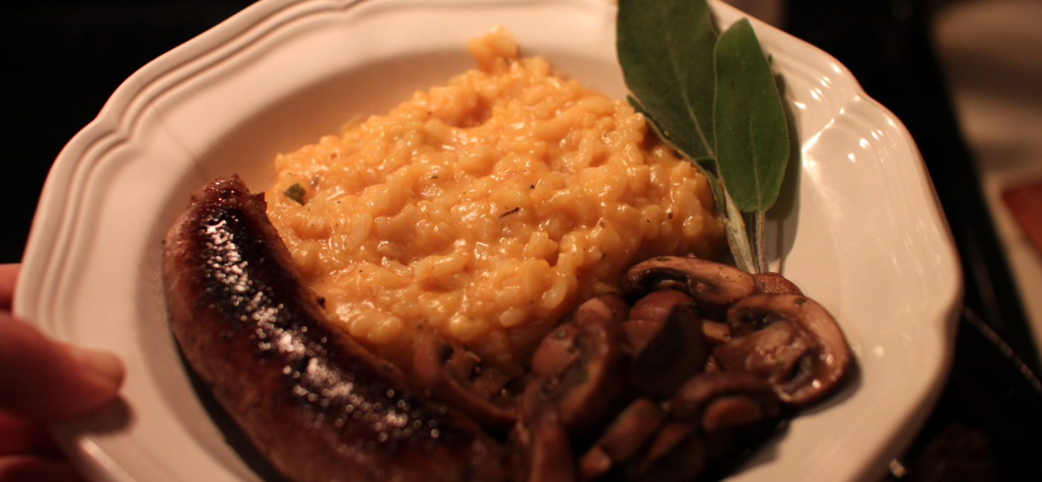 Pumpkin Risotto with Mushrooms and Sausage