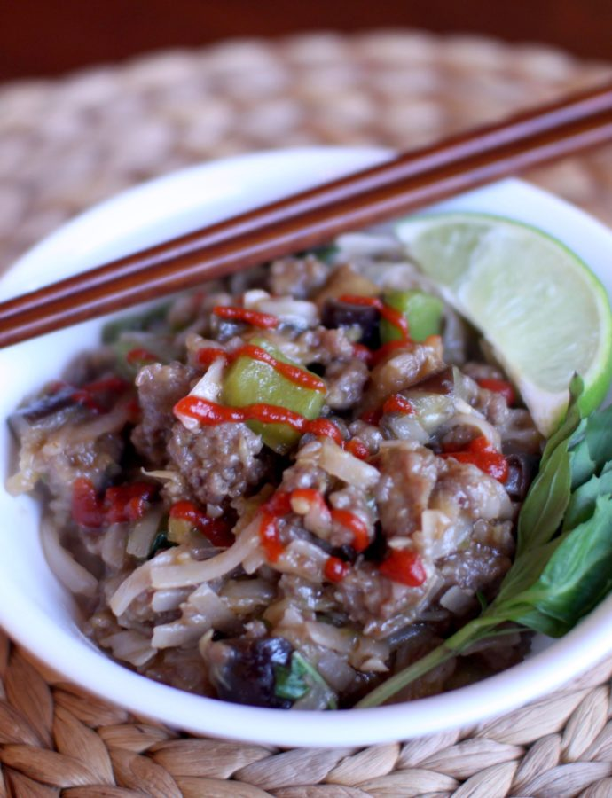 Eggplant Basil Noodles