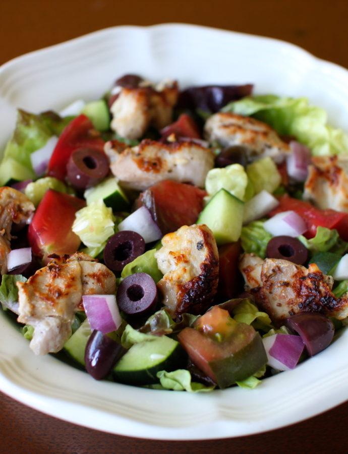 Greek Salad with Grilled Chicken and Tzatziki