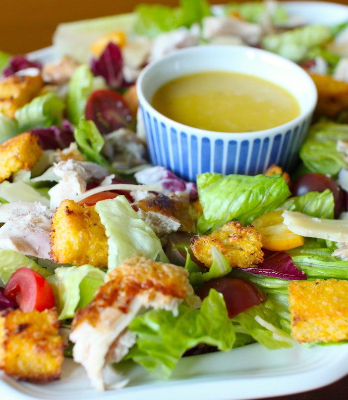 Chicken Caesar Salad with Polenta Croutons