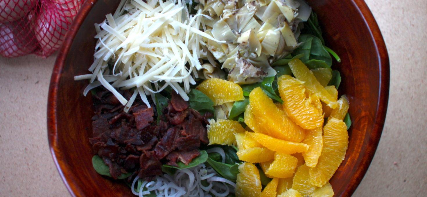 Bacon Artichoke Spinach Salad