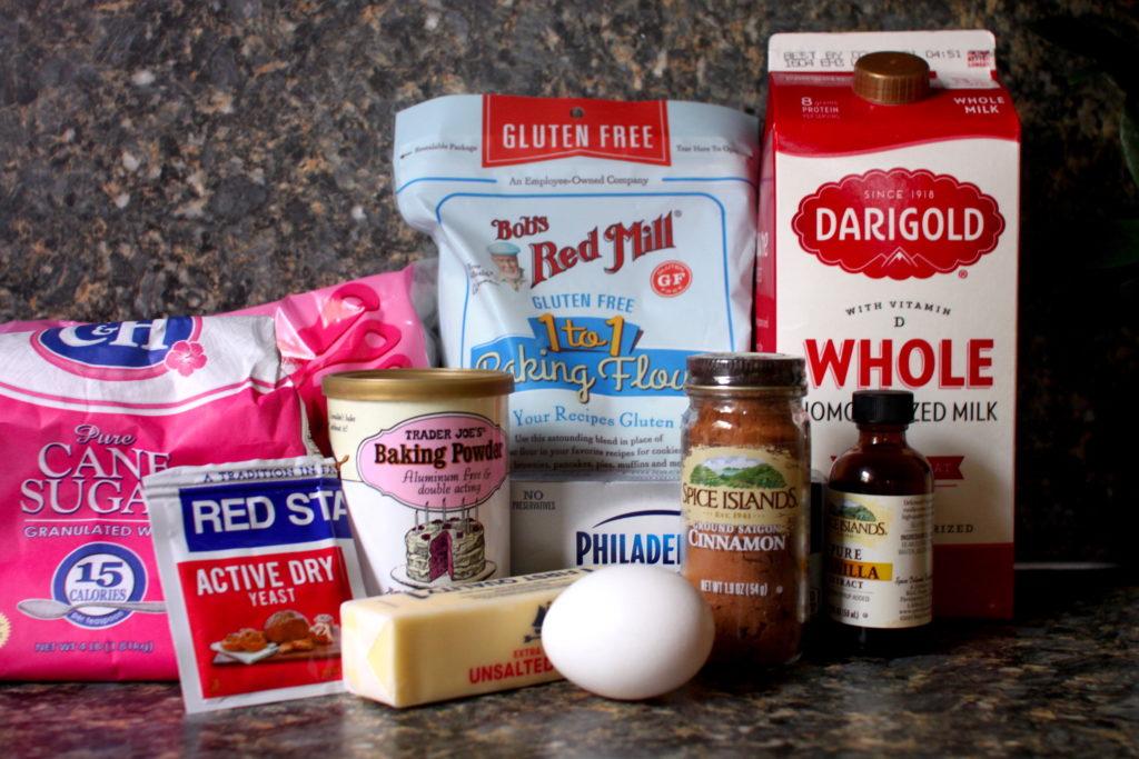 Ingredients for gluten-free cinnamon rolls