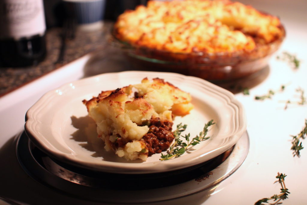 Photo of a piece of cooked cottage pie